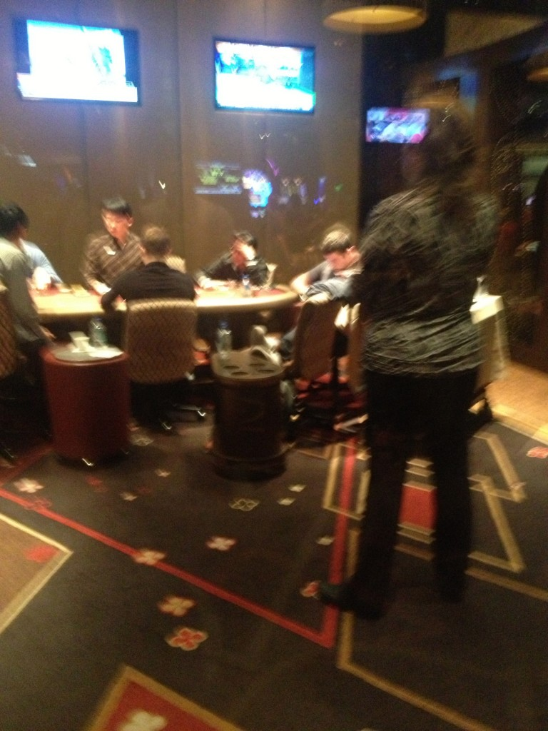 Tom Dwan Naps at the Table in The Ivey Room at Aria
